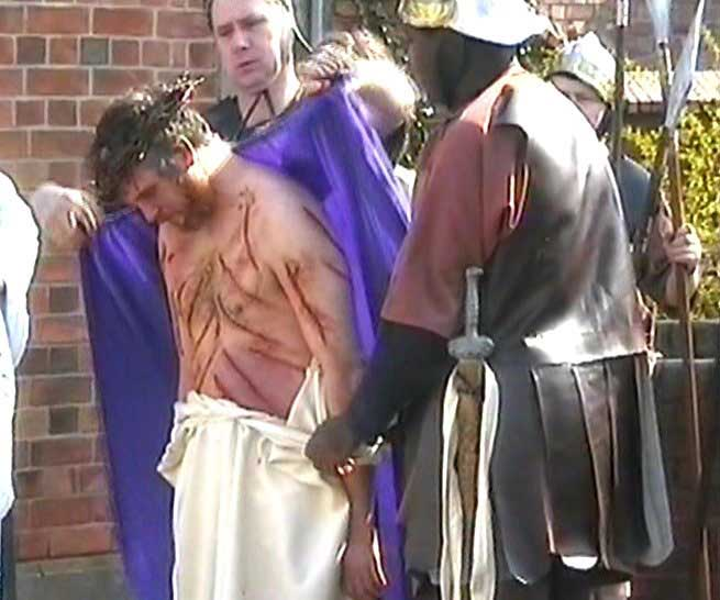 Jesus is scourged and crowned with thorns